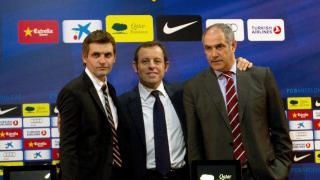 Tito Vilanova junto al ex presidente Sandro Rossell y Andoni Zubizarreta