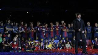 La plantilla del FC.Barcelona de la temporada 2012/13 con Tito Vilanova, celebran la Liga BBVA