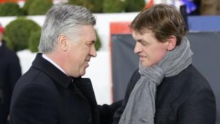 Carlo Ancelotti saluda a Tito Vilanova antes de un partido de Champions League 2012/13