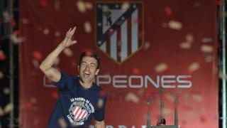 El Atlético celebró el título de la Liga BBVA en la fuente de Neptuno.