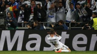 Sergio Ramos celebra el primer gol del Real Madrid