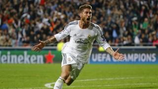 Sergio Ramos celebra el primer tanto del Real Madrid