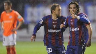 Peleteiro, celebrando el gol de la victoria en el derbi vasco