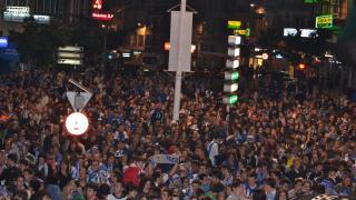 Miles de aficionados se dieron cita para celebrar el ascenso del Deportivo