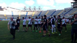 Los jugadores del Córdoba celebraron el ascenso en el césped del Estadio de Gran Canaria