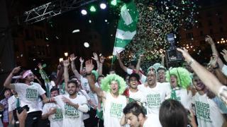 La celebración del Córdoba contó con todos los protagonistas del ascenso