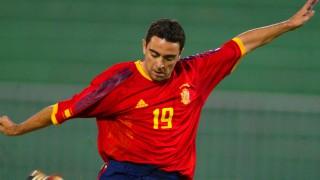 Xavi Hernández, antes de la Copa Mundial de la FIFA 2002