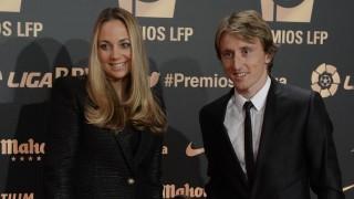 Luka Modrić y su acompañante, en la 'Gala de los Premios LFP 2014'