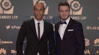 Miranda y Saúl como representantes del Atlético Madrid en la alfombra roja