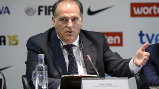 Javier Tebas, presidente de la Liga de Fútbol Profesional, durante el acto