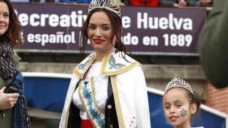 Las damas del Carnaval presidieron el partido del Recreativo