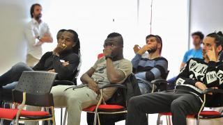 Los jugadores del Rayo durante un momento del curso impartido por la LFP