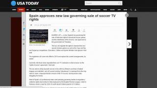 """USA TODAY: """"España aprueba una ley que regirá la venta de derechos televisivos"""""""
