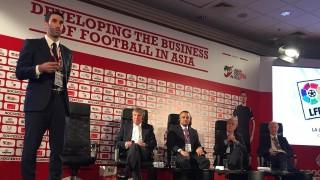 Fernando Sanz, director de la sede de La Liga en Oriente Medio y Norte de África, durante su ponencia en el Foro Soccerex