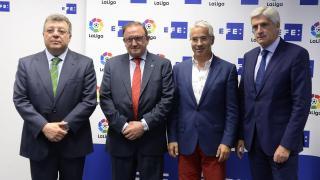 Francisco Rubio, presidente del CD Numancia, y Clemente Villaverde, dirigente del Atlético, estuvieron entre los invitados