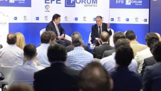 Javier Tebas, presidente de La Liga, durante su ponencia en la sede de la Agencia EFE