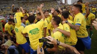 El conjunto canario mostró su alegría tras certificar su ascenso a la Liga BBVA