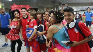 El Atlético Madrid, a su llegada a Barranquilla