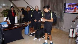 Los futbolistas, en el hotel de Cali donde permanecerán concentrados.