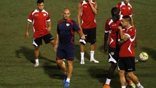 Los jugadores del Rayo durante la sesión de entrenamiento
