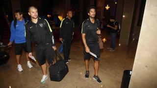 Los jugadores, en la recepción de su hotel en la capital argentina.