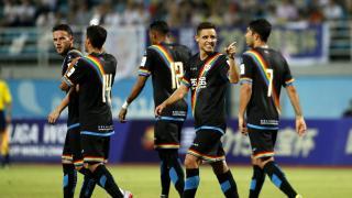 Álex Moreno, celebrando el gol marcado en los instantes finales del partido.