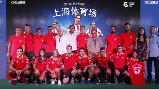 El presidente de LaLiga, Javier Tebas, y el director de proyectos estratégicos, Ignacio Trujillo, estuvieron presentes en el acto del Atlético en China
