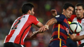 Luis Suárez asistió con el pecho a Messi para que el argentino anotase el 1-0 al filo del descanso