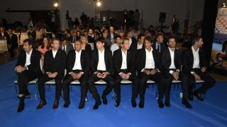 Los embajadores de LaLiga antes de subir al escenario.