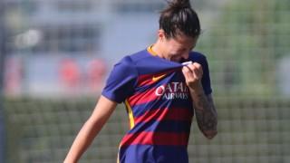 Jenni Hermoso se lamenta después de una acción en el choque disputado entre el FC Barcelona y el Sporting de Huelva.