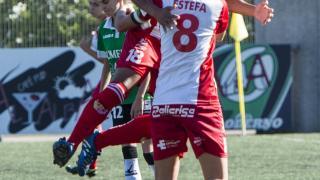 La celebración del tanto de la victoria de Vania del Santa Teresa CD ante el Oviedo Moderno, en la Primera División Femenina.
