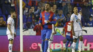 Camarasa celebra el tanto del empate ante el RC Deportivo.