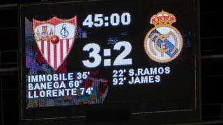 El Sevilla se impuso después en su estadio al Real Madrid por 3-2 en un emocionante partido que decidieron los goles de Ciro Immobile, Éver Banega y Fernando Llorente