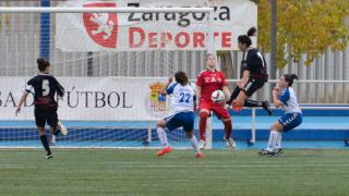 Mati, en una de las ocasiones que el Fundación Albacete tuvo en el partido que le enfrentó al Transportes Alcaine, en la Primera División Femenina.