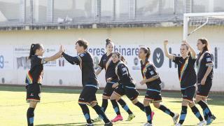 Las jugadoras del Rayo Vallecano celebran uno de los tres tantos que marcaron en su victoria ante el Fundación Albacete.