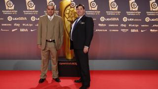 Julio Rodríguez (gerente) y Pablo Ritoré (presidente) del Santa Teresa CD, en la Gala de los Premios LaLiga 2014-2015.