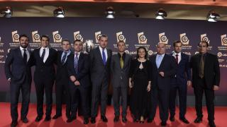La delegación del Levante UD en la alfombra roja de la Gala de los Premios LaLiga 2014-2015.