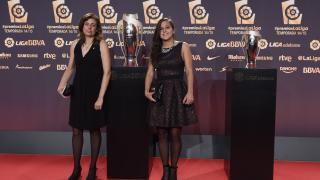 Aintzane Encinas, capitana de la Real Sociedad, en la alfombra roja de la Gala de los Premios LaLiga 2014-2015.