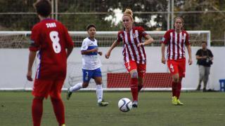 Sosa conduce el balón en el partido que enfrentó al UD Granadilla Tfe Egatesa y al Atlético Féminas.
