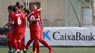 Las jugadoras del Atlético Féminas celebran el tanto de la victoria de Mapi ante el UD Granadilla Tfe Egatesa.