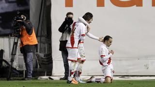 Nacho celebra el gol que inauguró el marcador en Vallecas.