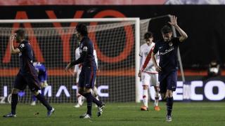 Saúl celebra el tanto del empate ante el Rayo Vallecano.