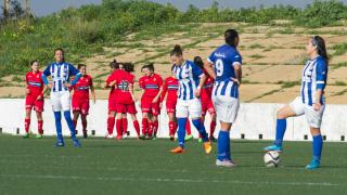 La alegría del RCD Espanyol tras el gol de la victoria ante el Sporting Huelva en la Primera División Femenina.