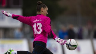 Sarita Serrat, guardameta del Sporting de Huelva, en el partido que enfrentó a su equipo al Santa Teresa CD, de la Primera División Femenina.