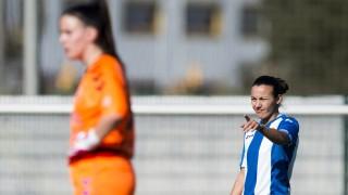 Lombi celebra uno de los dos goles de la victoria del RCD Espanyol ante el F. Albacete, en la Primera División Femenina.