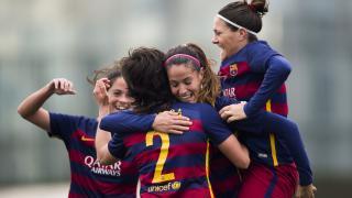 Las jugadoras del FC Barcelona celebran el tanto de Ane Bergara ante el Granadilla Egatesa, en la Primera División Femenina.