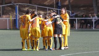 Concentración del Barcelona antes del partido.