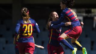 La alegría de Miriam tras abrir el marcador en el FC Barcelona - Athletic de la Primera División Femenina.