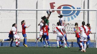 Noelia Bermúdez, durante un lance del partido entre el Levante Femenino y el Rayo.