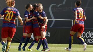 Ruth García celebra el segundo tanto del FC Barcelona.